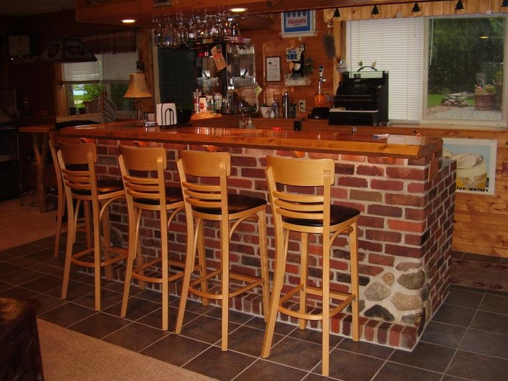 What we are thinking for the bar in our basement....when we finish it. The brick part and the tile around the bar part: Brick Bar, Man Cave, Brick Homes, Design Ideas, Design Interiors, Bar Ideas, Basement Ideas, Home Bar Designs, Home Bars