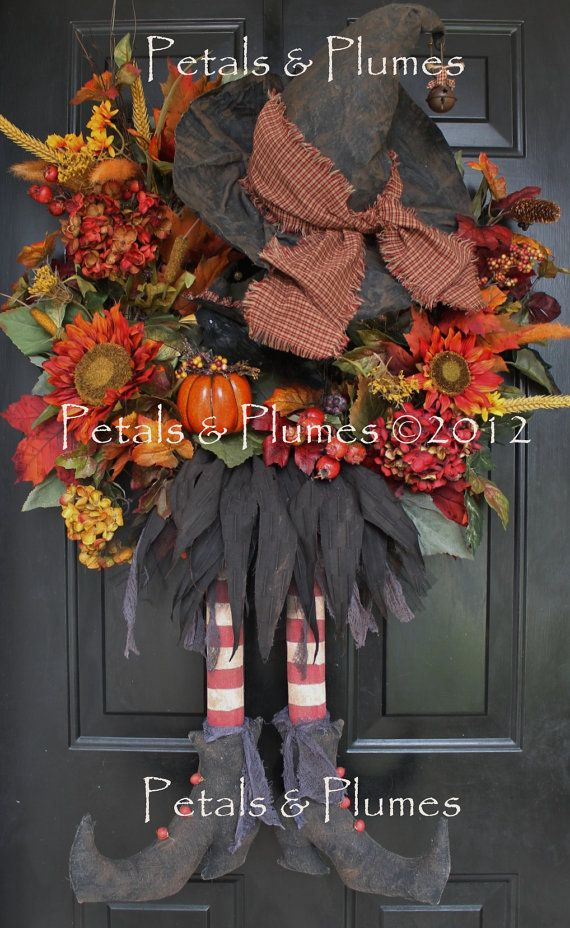 Halloween Witch WreathMADE To ORDERFall Wreath by PetalsnPlumes