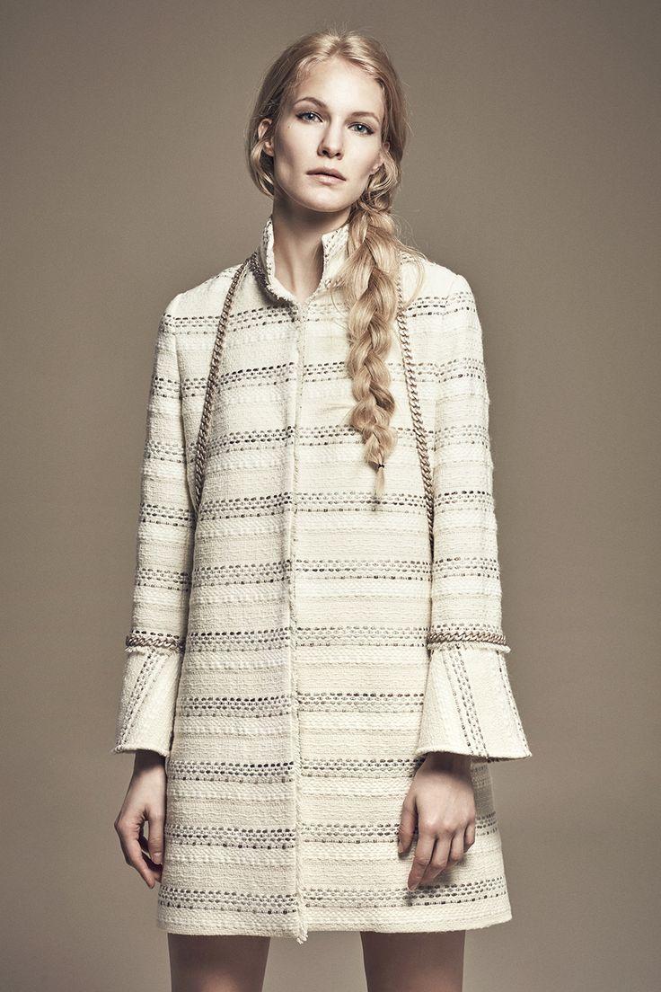 KATE - Quarter Sleeve Tweed Jacket w/ Ethnic Print MARGAUX - Mini Tweed Skirt w/ Ethnic Pigment Print