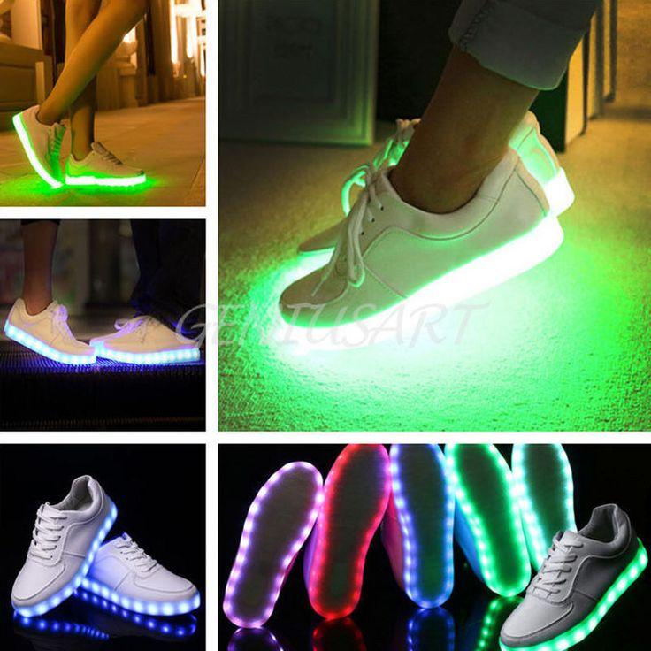 Detalles de Unisex luz LED Con Cordones Luminoso Zapatos Ropa deportiva  Casual Zapatillas