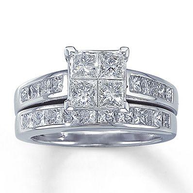 Simple Diamond Bridal Set ct tw Princess cut K White Gold