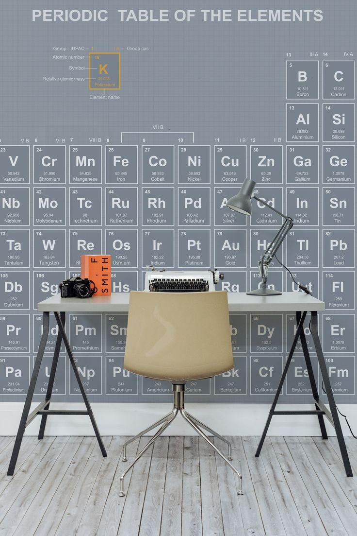 Make learning fun with this Periodic Table wallpaper mural. In a slate grey and sleek design, this wallpaper is a smart choice for home office spaces.