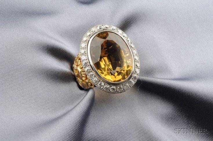 Citrine and Diamond Ecclesiastical Ring