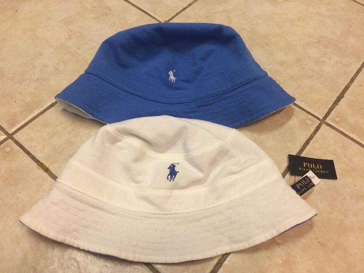 Polo Ralph Lauren Reversible Solid White/Blue Bucket Hat w/Pony L/XL NWT #PoloRalphLauren #BucketHat
