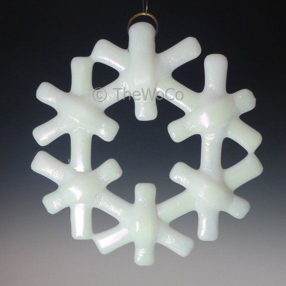 CRYSTAL White Iridized Snowflake Fused Glass Ornament by TheWoCo, $18.00