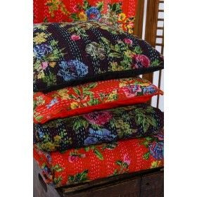 Cotton Cushion Covers Kantha Stitch - Black or Red