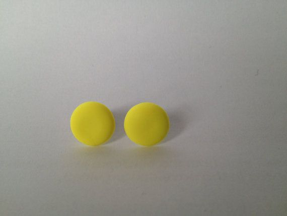 Neon Yellow Round Polymer Surgical Steel by FawknerStDesigns, $10.00