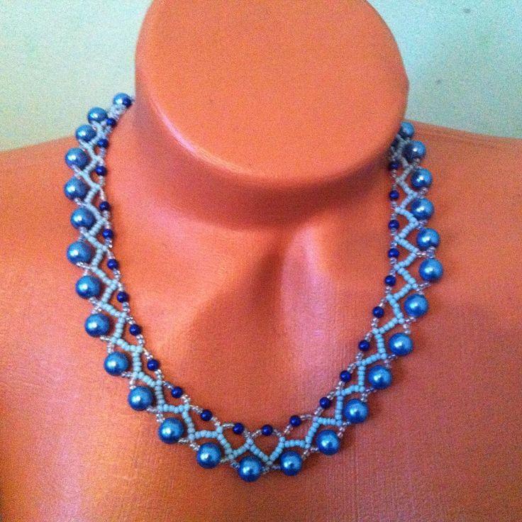 #blue #necklace #jewelry #bijouxs