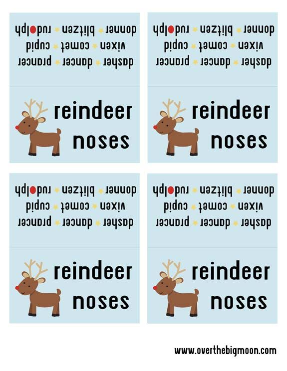 Reindeer Noses Free Printable Bag topper. Perfect for a classroom treat! Prints 4 to a sheet.