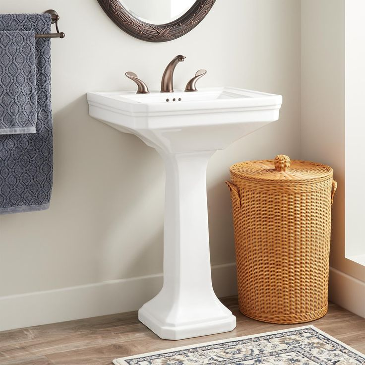 Kacy Porcelain Pedestal Sink In Small In White Signature