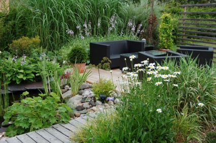 Garden planning ideas, french theme. Maybe minus the black couch.