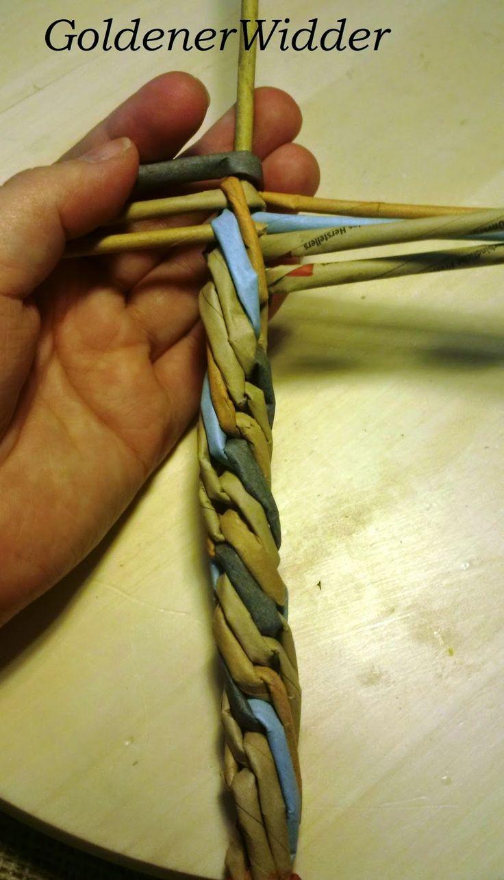 hétszálas fonat Плетение из газетных трубочек: Камышик 7 рабочих трубочек и одна стержневая. Очень просто делается, я использовала как элемент - трос для якоря. Декоративный элемент.