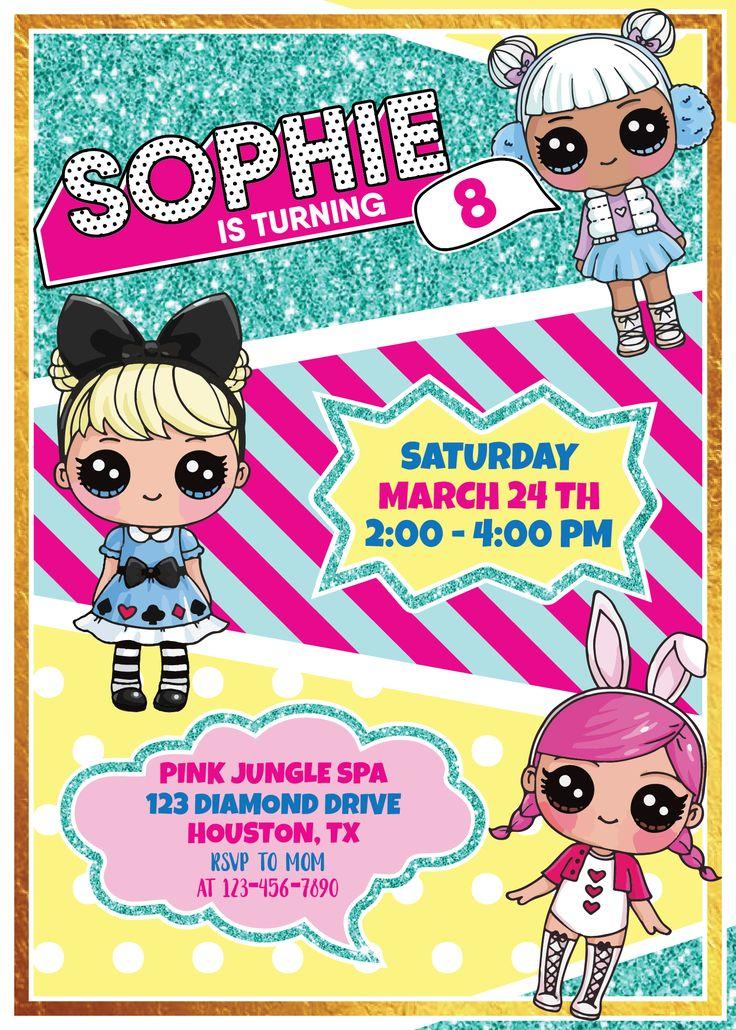LOL Surprise Dolls Printable Invitation (Customized) in