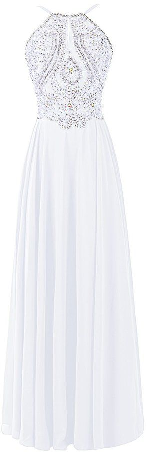Dresstells® Chiffon Prom Dress Long Halter Bridesmaid Gown with Beads Champagne Size 2
