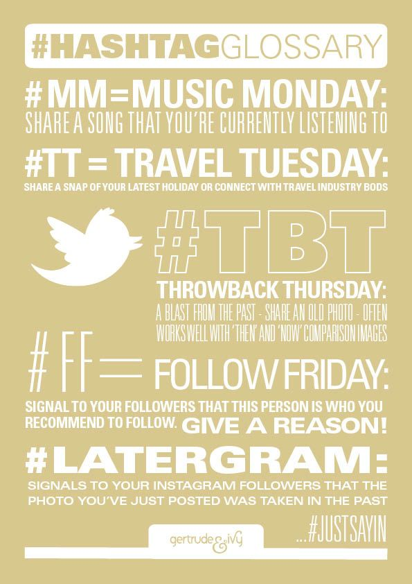 A glossary of the most popular hashtags on Twitter so you know your throwback Thursday from your travel Tuesday.