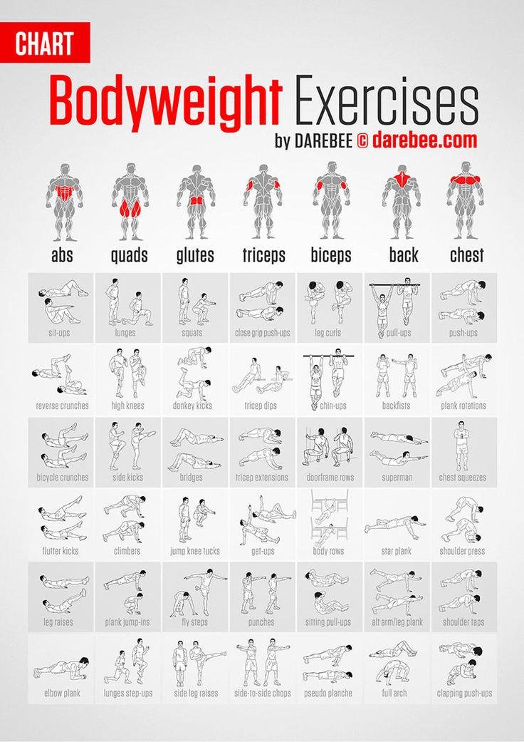 List of Bodyweight Exercises Infographic. Topic: bodybuilding, exercise, muscle, lose weight.