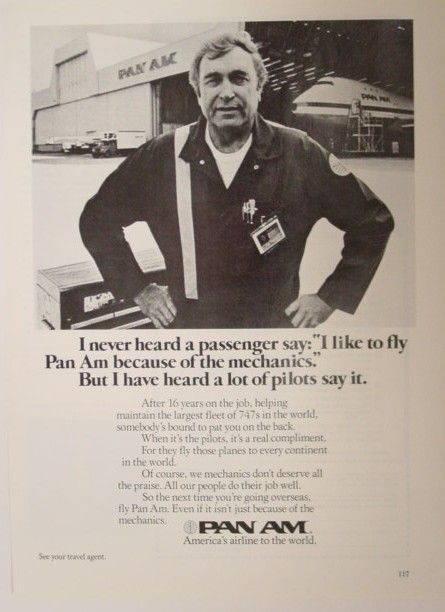 Mid-Century Holiday USA 1970s A Pan Am ad promoting quality employees and maintenance.