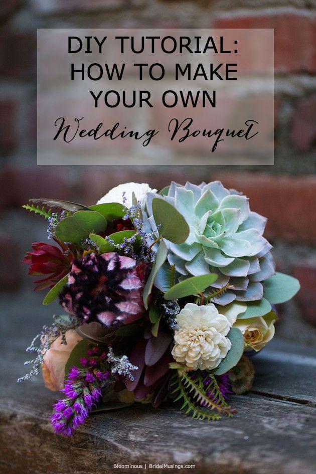 DIY tutorial - How to make a bohemian wedding bouquet   usings Protea, Rose, Safari Sunset, Liatris, Succulent, Scabiosa Pod, Limonium, Assorted Greens