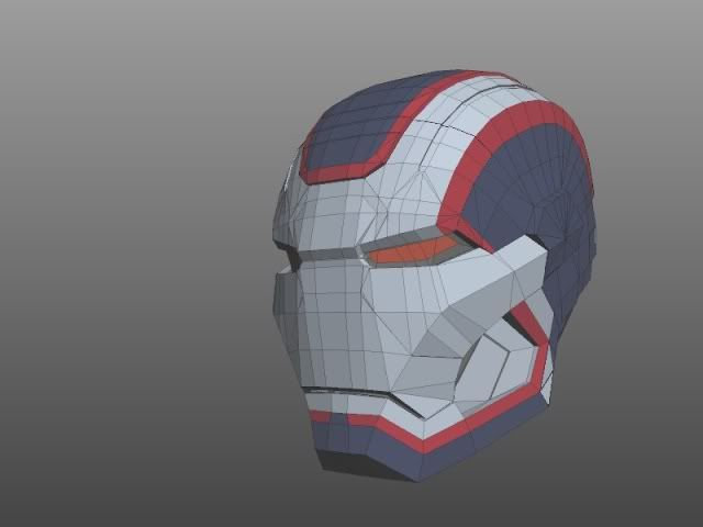 Iron Man pepakura helmets: Mark 42 43 Iron Patriot WM - PDF Links first post 3D print