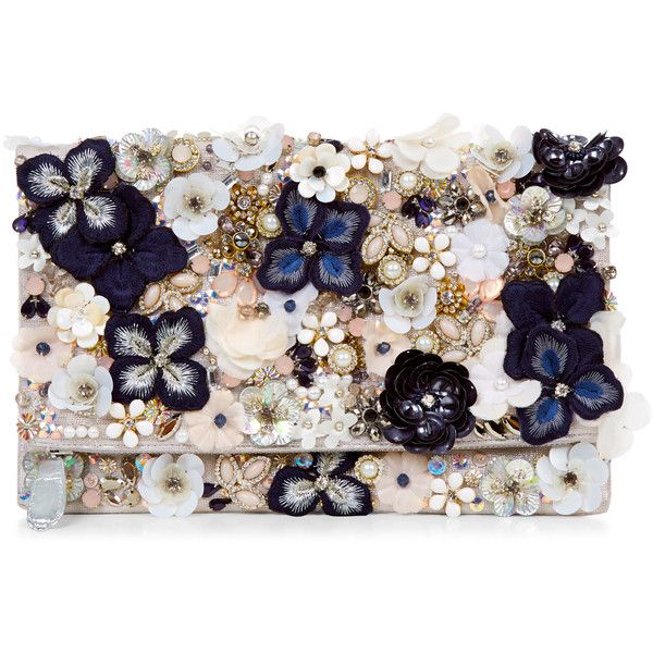Accessorize Kate Floral Foldover Clutch Bag ($59) ❤ liked on Polyvore featuring bags, handbags, clutches, flower purse, floral clutches, embellished handbags, sequin purse and beaded clutches