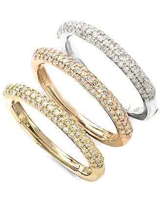 Trio by effy collection diamond ring 14k gold tri tone for Macy s jewelry clearance