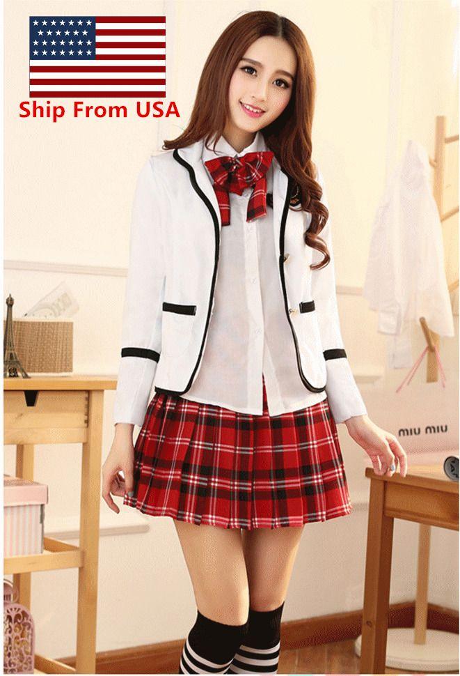 6bfc12a6495 Korean Japanese School Girl Costume Student Uniform w Jacket Suit for  Cosplay  Halloween  CostumesforWomen  CoolCostumes