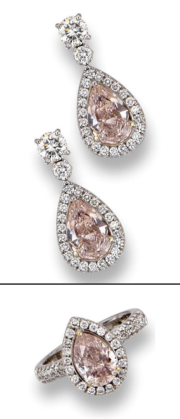 PAIR OF FANCY LIGHT PINK DIAMOND EARRINGS AND A FANCY LIGHT PURPLISH PINK DIAMOND RING ✿⊱╮BL ~