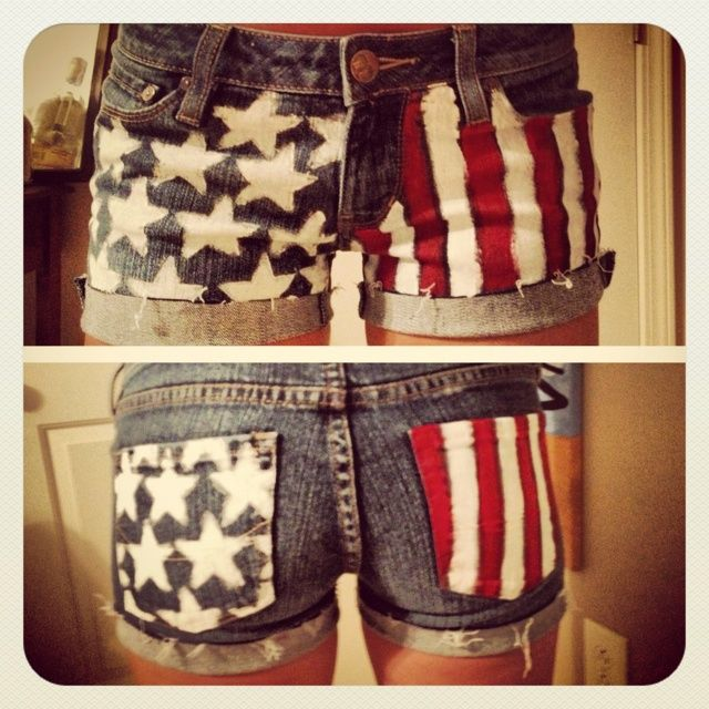 4th of July Tutorials: I want to do the stars and stripes on the back pockets of the jean shorts that I don't wear.