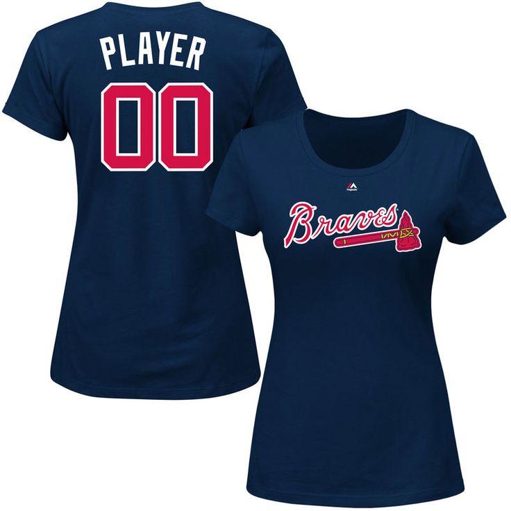 Atlanta Braves Majestic Women's Custom Roster Name & Number T-Shirt - Navy