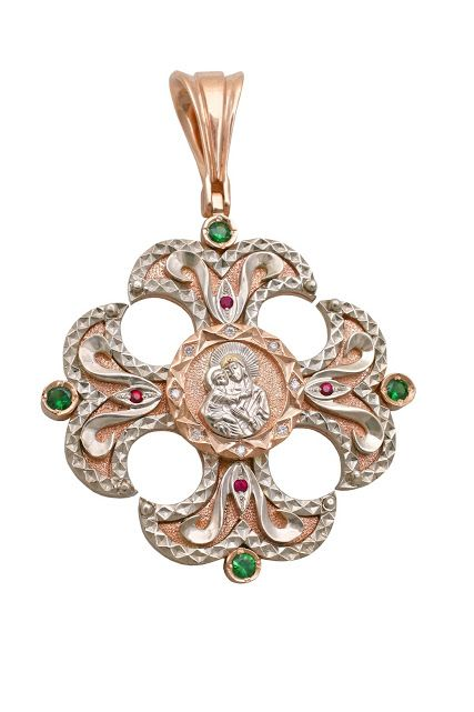 SKU # | 18k WG YG PENDANT (religion) w/ EM, RUBY, DIA | Pendant with 4 emerald 0.3ct total weight, 4 ruby 0.04ct total weight and 8 diamonds 0.11ct total weight, in white and yellow gold | size medium, total weight 18.09gr, weight gold 18.0gr | exlusive jewelry designed by Andrey Gorodnichev | #JewelryPinterest #exlusive #jewelry #pendant #religion #cross #18k #gold #whitegold #wg #yellowgold #yg #gemstone #carat #ct #emerald #em #ruby #ru #diamond #dia jewelry.production1997@gmail.com