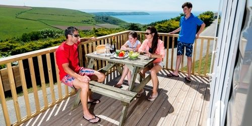 Sea view caravan holiday home at Woolacombe Bay
