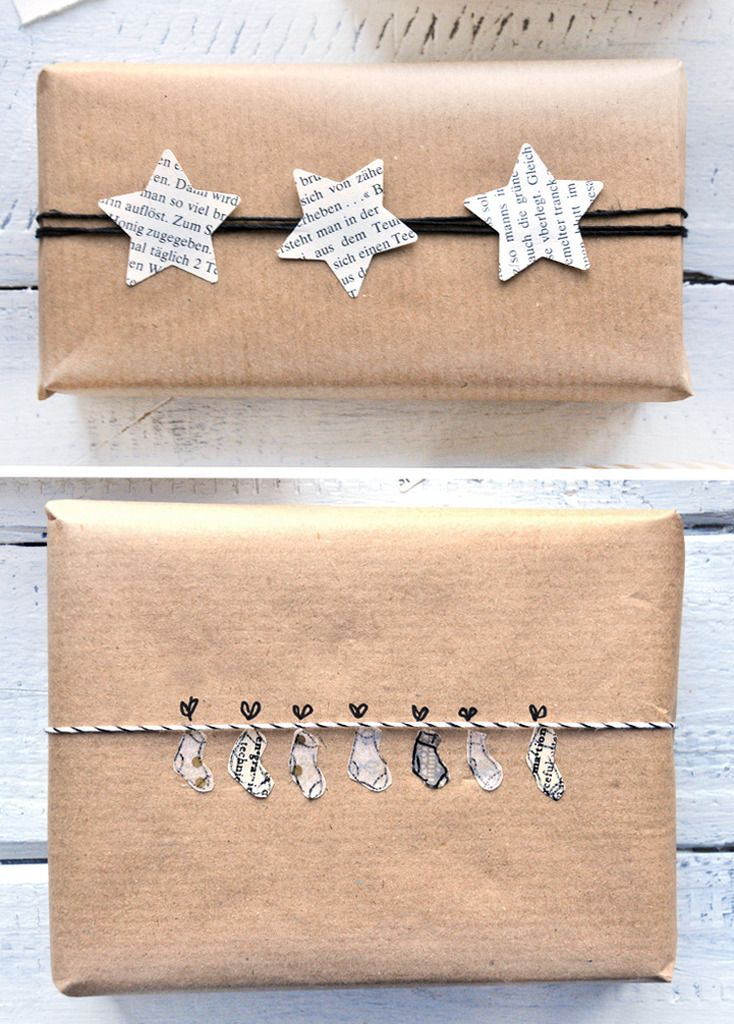 Tutorial for 9 DIY beautiful gift wrapping ideas using packaging paper and other simple materials like washi tape, bakers twine and old book pages. - Upcycling