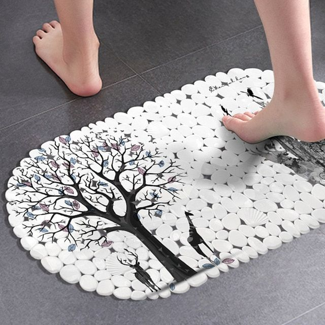 Anti Slip Suction Bathroom Mat Printed Pvc Shower Room Bathtub
