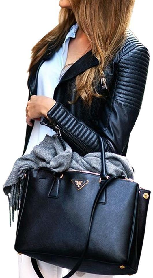 95bedd9bfc35 Double Galleria New Handle Black Saffiano Leather Tote