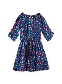 Girlswear Floral Tie Front Dress Blue Indigo dress