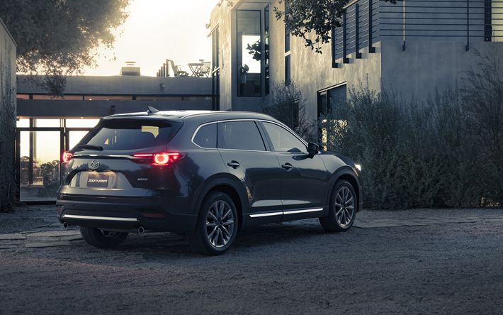 Download wallpapers Mazda CX-9, 2018, 4k, rear view, new luxury SUV, Japanese cars, gray CX-9, Mazda