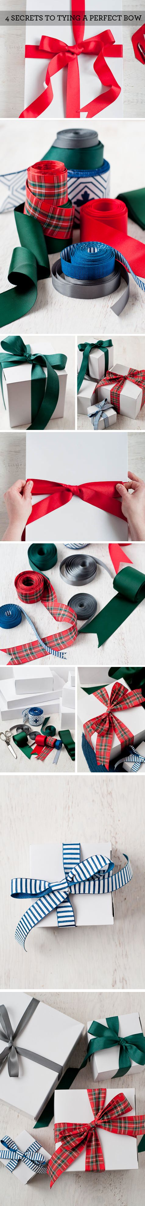 Living Well: 4 Secrets To Tying a Perfect Bow: #tutorial #bow #christmas #gift #package #ribbon #diy http://www.designmom.com/category/make-something/page/4/
