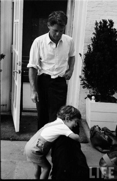 Bobby Kennedy with his nephew, JFK Jr.