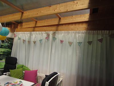 """Granny bunting. Like """"ordinary"""" granny squares but made as triangles instead. The triangles are then crocket together with simple chains between them."""