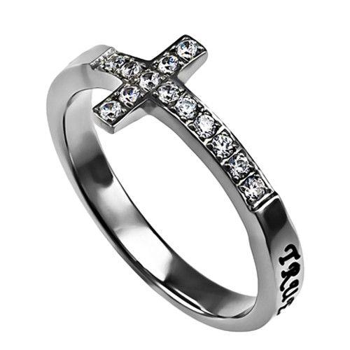 True Love Waits Purity Ring for Teen Girls, Sideways Cross Stainless Steel