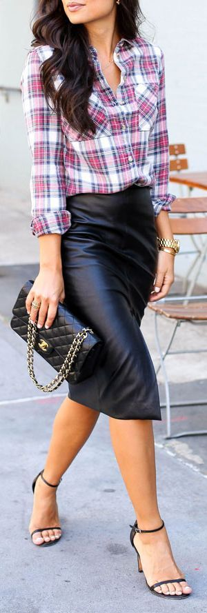 Leather And Plaid Outfit Idea by With Love From Kat