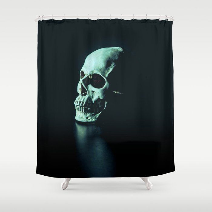 This Green 420 Skull Designer Shower Curtain Bring A Fresh New Feel To An Overlooked Space Hookless And Extra Lon Skull Shower Curtain Curtains Shower Curtain