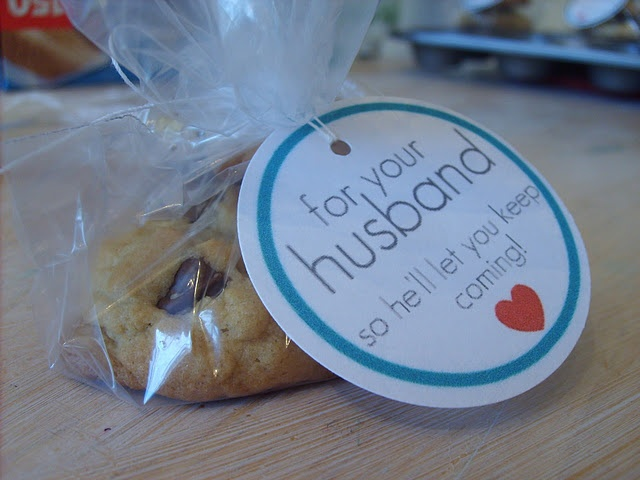 "Love this idea for any mtg, RS, YW, or girl night get together. ""A treat to send home to husband so he'll let you keep coming""."