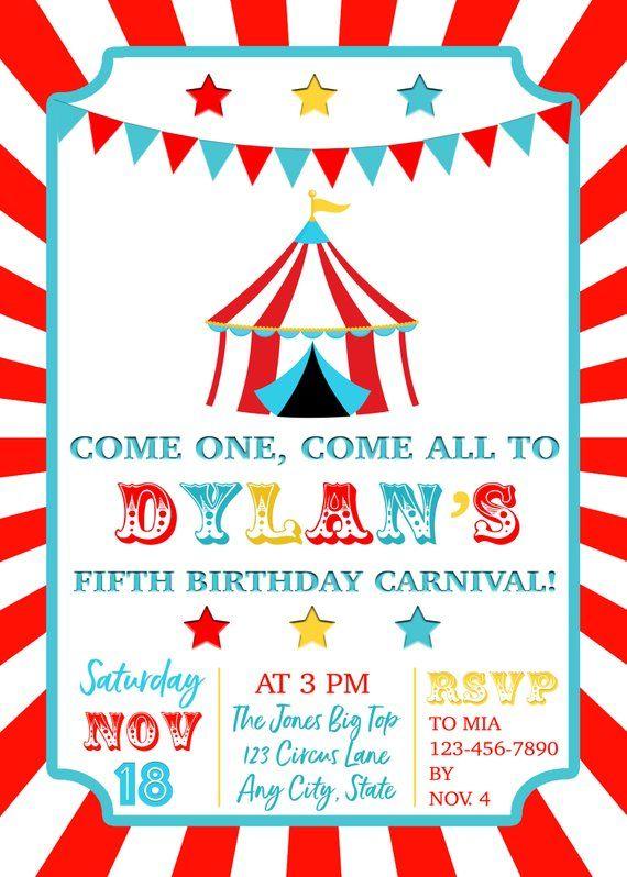 Circus Birthday Invitation Carnival Birthday Invitation Etsy In 2021 Carnival Birthday Invitations Circus Birthday Invitations Carnival Birthday Party Invitations