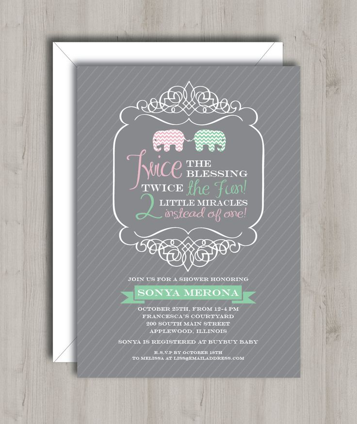 Twin Baby Shower Invitation Elephants