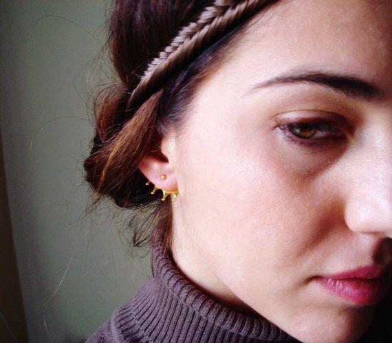 Christmas Gift -Black Friday- Front Back Crown Earring- Back Ear Silver Earrings- Ear jacket earrings-Two Tone Silver Earrings-Back Ear Cuff