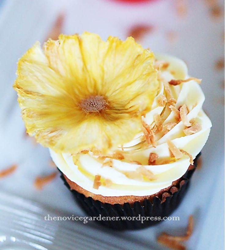 #Pineapple Coconut Cupcake #cupcakes #pineapple flowers #pineapples