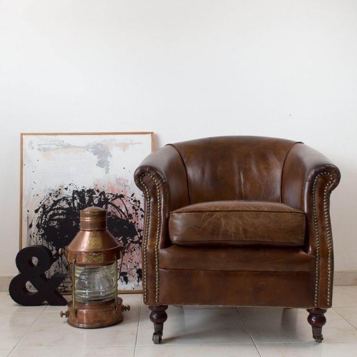 El encanto a adido de una butaca de piel estilo chester - Sofa chester piel ...