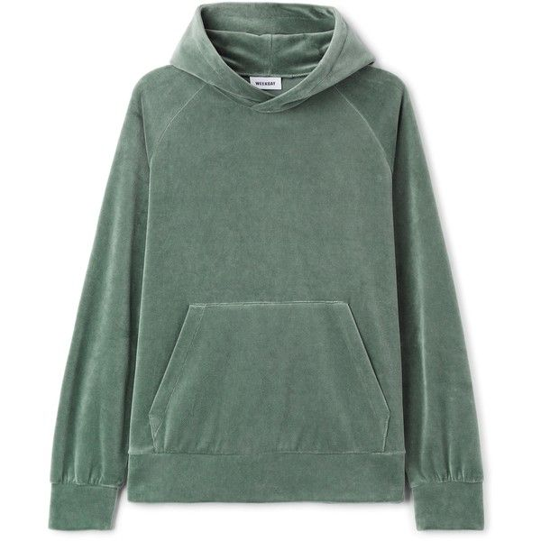 Noah Velvet Hoodie (3,485 INR) ❤ liked on Polyvore featuring tops, hoodies, hooded pullover, green hooded sweatshirt, raglan hoodie, raglan sleeve top and green hoodies