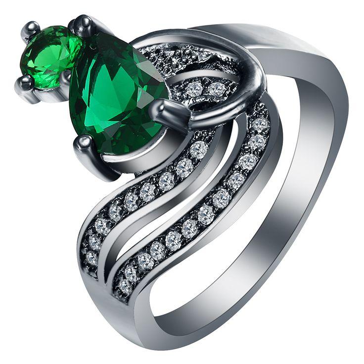 Горячий Дизайн Роскошный Подарок Зеленый Синий Камень Новые черные Кольца для женщин новые ювелирные изделия элегантный принцесса Циркон Обручальное Кольцо